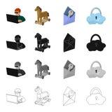 Pirata informatico e computer, cavallo di Troia, busta e chiave, nuvola sotto la serratura Pirata informatico ed incidere le icon Fotografia Stock Libera da Diritti
