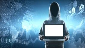 Pirata informatico e grafico finanziario Fotografia Stock