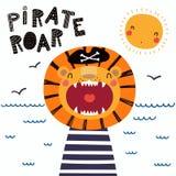 Pirata lindo del león stock de ilustración