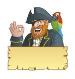 Pirata, mappa del tesoro di nad del pappagallo Fotografia Stock