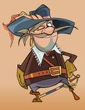 Pirata masculino dos desenhos animados na roupa de um mosqueteiro Imagem de Stock