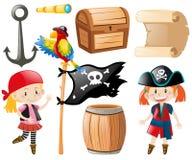 Pirata messo con il pirata e l'altro oggetto royalty illustrazione gratis