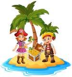 Pirata na ilha do tesouro ilustração stock
