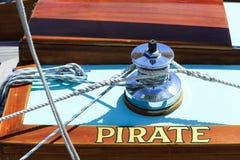 Pirata olinowanie na łodzi Obrazy Royalty Free