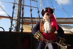 Pirata orgulloso con la nave de pirata Foto de archivo libre de regalías