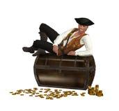 Pirata que descansa encima de cofre del tesoro Foto de archivo