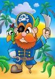 Pirata rojo del pelo con el loro stock de ilustración
