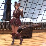 Pirata sexy sulla nave illustrazione di stock