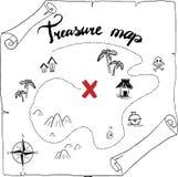 Pirata skarbu mapy kresk?wki czerni r?ka rysuj?cy atrament odizolowywaj?cy na bielu, palmy przy bezludnym wyspa krzy?a znaka spos royalty ilustracja