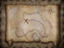 Pirata skarbu mapy ślimacznica nad inny stary jeden Obraz Stock