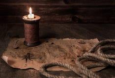 Pirata stół, kapitan kabiny wnętrze fotografia royalty free