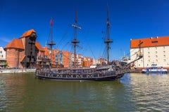 Pirata statek przy Motlawa rzeką w Gdańskim Zdjęcie Royalty Free