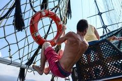 Pirata statek przy plażą Cleopatra Obraz Royalty Free