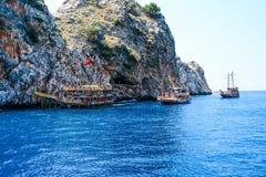 Pirata statek przy plażą Cleopatra Fotografia Stock