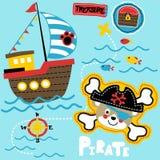 Pirata tematu ustalona kreskówka ilustracji