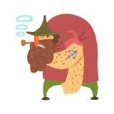 Pirata trasandato del gobbo con il tatuaggio dell'ancora e del tubo, personaggio dei cartoni animati della Taglio-gola dell'ostru Fotografia Stock Libera da Diritti