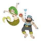Pirata y sirena Foto de archivo libre de regalías