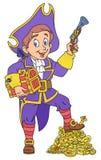 Pirata y tesoro stock de ilustración