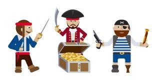 Piratas con vector plano del cofre del tesoro ilustración del vector