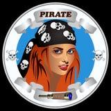 Piratas da menina do ícone Fotos de Stock Royalty Free