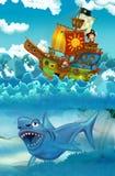 Piratas en el mar - batalla - con el monstruo subacuático ilustración del vector