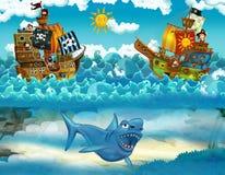 Piratas en el mar - batalla - con el monstruo subacuático stock de ilustración