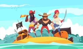 Piratas en la composición del mar stock de ilustración