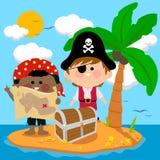 Piratas en la isla del tesoro stock de ilustración