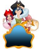 Branco feliz da ilustração do estilo dos desenhos animados do caráter dos piratas Fotografia de Stock