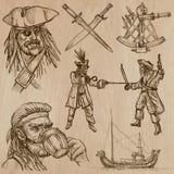Piratas (não 6) - um bloco tirado mão do vetor Fotos de Stock Royalty Free