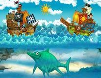 Piratas no mar - batalha - com o monstro subaquático fotos de stock royalty free