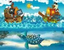 Piratas no mar - batalha - com o monstro subaquático Imagens de Stock Royalty Free