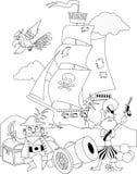 Piratas, página colorindo Imagens de Stock