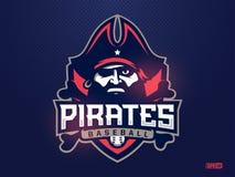 Piratas profissionais modernos do emblema para a equipa de beisebol Fotos de Stock Royalty Free