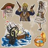 Piratas - um bloco colorido tirado mão do vetor nenhum 2 Imagem de Stock