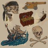 Piratas - um bloco colorido tirado mão do vetor nenhum 3 Imagem de Stock Royalty Free