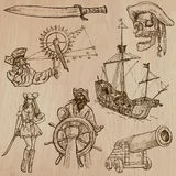 Piratas - um bloco tirado mão do vetor Fotos de Stock