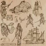 Piratas - un paquete dibujado mano del vector Foto de archivo libre de regalías