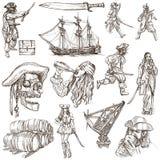 Piratas - una colección dibujada mano Imagenes de archivo