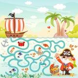 Piratas y laberinto del tesoro para los niños Imagen de archivo