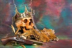 Piratas y tesoro Foto de archivo libre de regalías