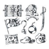 Piratas y tesoros fijados Imagen de archivo libre de regalías