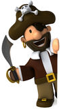 Pirate. Fun 3D pirate, ready to attack Stock Photo