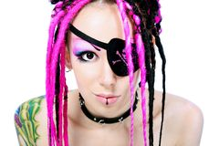 Pirate. Beautiful cosplay young woman in a piratic costume royalty free stock photos