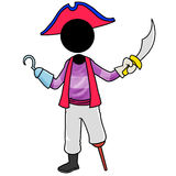 Pirate. Silhouette-man cosplay pirate holding sword Stock Images