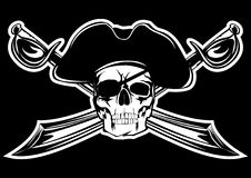 Pirate. Piracy flag with  skull and  crossed sabres Stock Photography