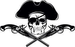 Pirate. Piracy skull and crossed pistols Royalty Free Stock Images