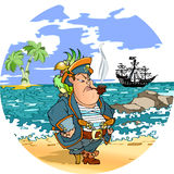 Pirate. With a parrot on his shoulder against the backdrop of the sea. stands on the shore, far seen a  ship and palm trees.An illustration is divided into Stock Images