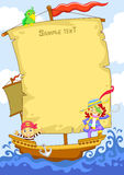 Pirate. The happy pirate cartoon frame Royalty Free Stock Images