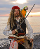 Pirate. The pirate with a parrot on the seashore Royalty Free Stock Photo